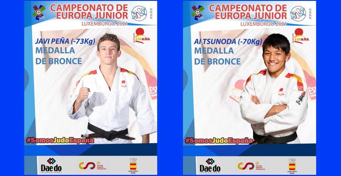 Ai Tsunoda y Javier Peña, medallas de BRONCE en el Campeonato de Europa Junior de Judo Luxemburgo 2021